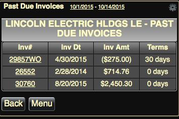 Tap Past Due Revenue to show the Past Due Invoices