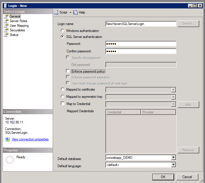 Enter Login Name for SQL SERVER Authentication (NOT WINDOWS SERVER AUTHENTICATION)