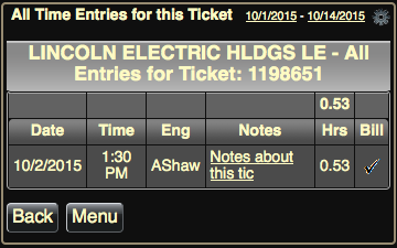 Tap ticket number to show Time Entries for that ticket